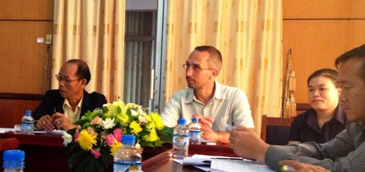 Sebastien and Deputy Director of the Ministry of Labor and Social Welfare, Mr. Than Khamkheng, listening to ideas from the Ministry of Information, Culture and Tourism. Case Management Supervisor and Trainer, Buavone to the right helps translate as needed.